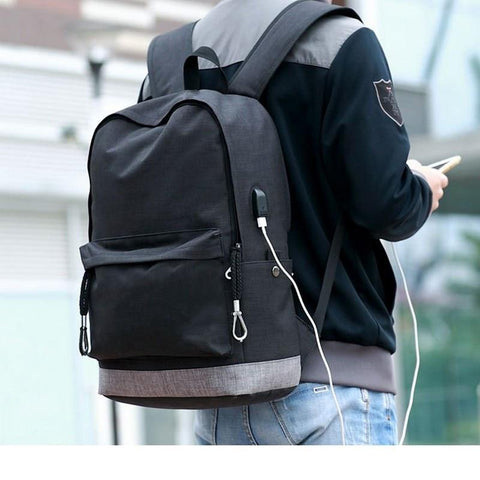 PINkart-USA Black / China Men Canvas Backpack School Bag For Teenagers Boys Large Capacity Usb Charging Schoolbag High Black Back Pack Male Bagpack