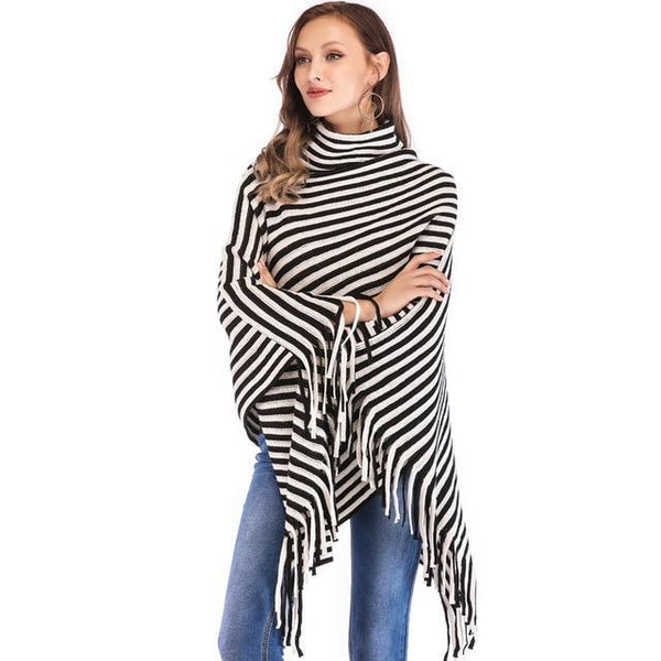 PINkart-USA black / China Sweater Women Fashion Black White Oblique Stripes High Collar Cloak Sweaters Europe And The