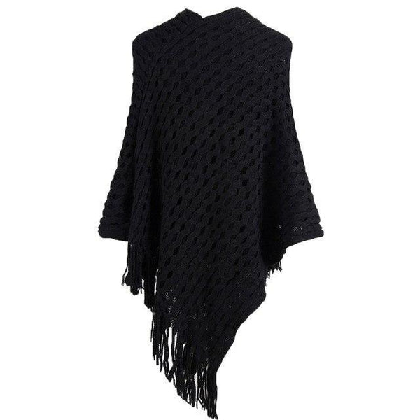 PINkart-USA black / China Women Knitted Shawl Tassel Sweater Oversized Cape Poncho Winter Autumn Loose Sweaters Pullover