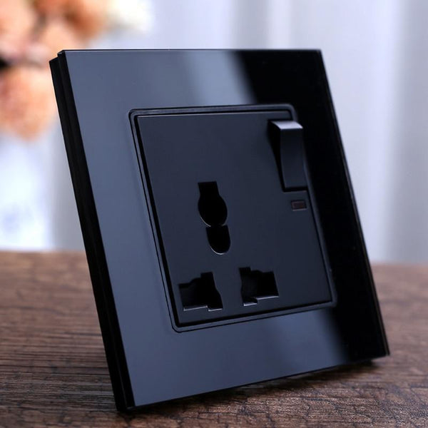 PINkart-USA Black Crystal Glass Panel Wall Power Outlet Plug Uk Standard Socket 1Gang 1Way Push Button Switch