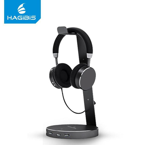 PINkart-USA Black Hagibis Usb 3.0 Earphone Hanger Headset Headphone Stand Holder With 4 Ports Of 3.0 Usb Hub