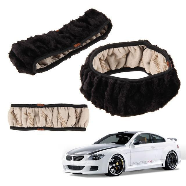 PINkart-USA Black High Density Thickened Car Fur Steering Wheel Cover Universal Car Soft Warm Plush Winter