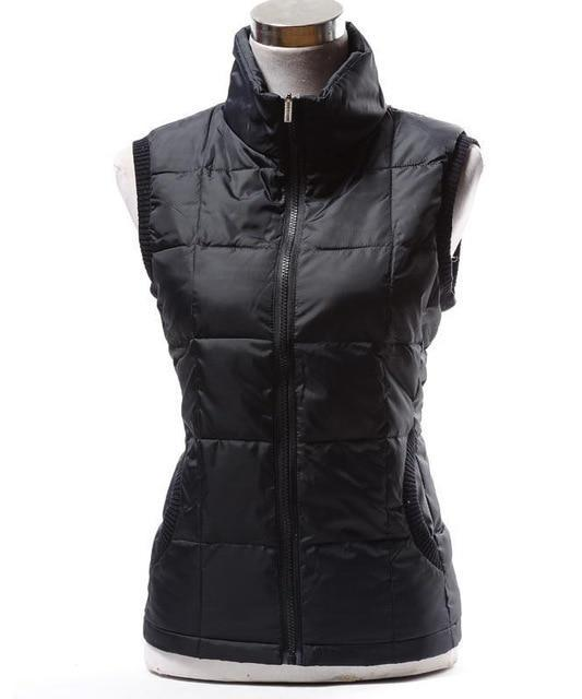 PINkart-USA black / L Autumn Winter Women Cotton V Collar Warm Down Coat Women Warm Cotton Jacket Designer Sleeveless