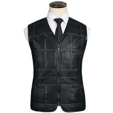 PINkart-USA Black / L Fashion Leather V Men'S Suit Leather Waistcoat Winter Sheepskin Vs Genuine Leather Patchwork Tops