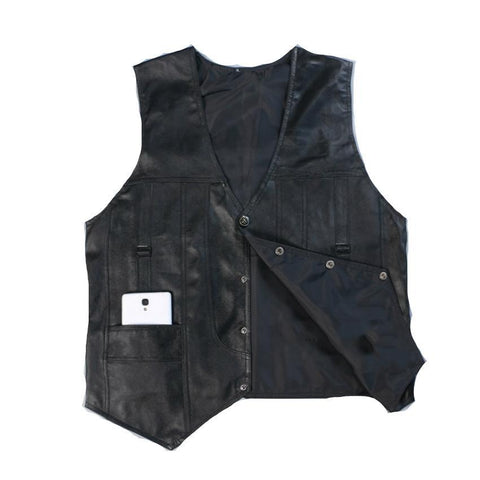 PINkart-USA Black / L Leather V Mens Clothing Real Sheepskin Waistcoat Winter Autumn Soft Black Mens Gilet Motorcycle