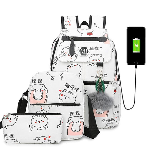 PINkart-USA Black / L27W12H37CM 3 Pcs/Set Usb Charging Canvas Women Backpack Printing School Backpacks Schoolbag For Teenagers Student Book Bag Girl Boy Satchel