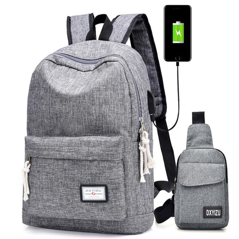 PINkart-USA Black / L30cm W15cm H40cm Casual Men'S Usb Charging Backpacks Male Travel Women Teenagers Unisex Student School Bags Simple Notebook Laptop Backpack