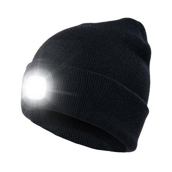 PINkart-USA Black Led Headlamp Beanie Cap Rechargeable Lighted Hat With Led Head Light Flashlight For Outdoor Evening