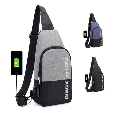PINkart-USA black Man Usb Charging Smart Backpack Waterproof Single Shoulder Bags Male Antitheft Chest Bag Leisure Messengers School Bag Bagpack