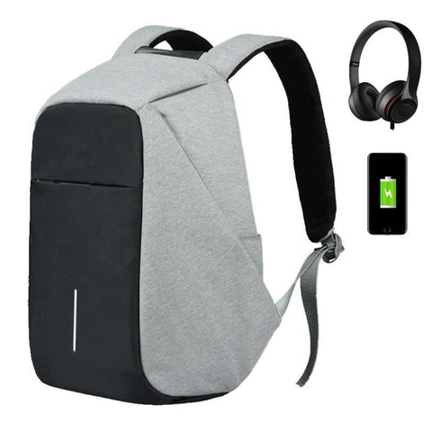 "PINkart-USA Black Men Multifunction Usb Charging Headphone Plug Anti-Theft 15.6"" Laptop Backpack Women Waterproof Business Large Travel Backpack"
