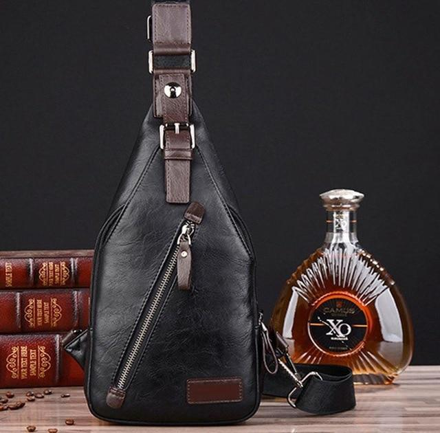PINkart-USA Black Men Pu Leather Vintage Fashion Sling Chest Bag Travel Cross Body Messenger Small Male Shoulder