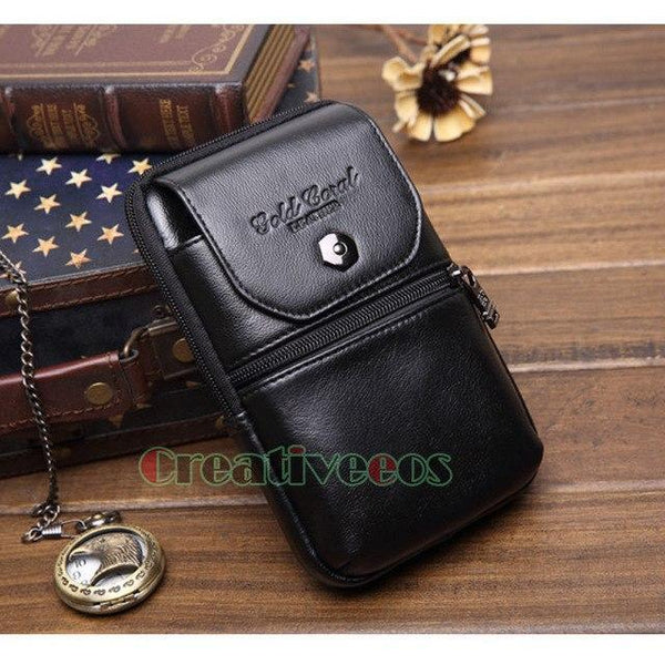 PINkart-USA Black Men'S Genuine Leather Cowhide Vintage Travel Cell/Mobile Phone Case Cover Belt Hip Bum Pouch Hook
