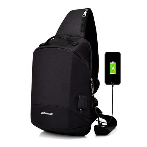 PINkart-USA black New Male Chest Package Shoulder Bag Usb Charging One Shoulder Worn Multi-Function Guard Against Theft Backpack Female