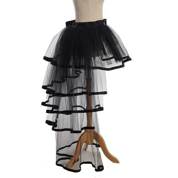 PINkart-USA Black / One Size / China Women Mesh Tulle Bustle Skirt Steampunk Victorian Party Tutu Ruffle Tiered Skirts Dance Stage