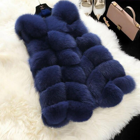 PINkart-USA Black / One Size High Quality Fur V Coat Faux Fox Warm Women Coat Vs Winter Fashion Furs Women'S Coats Jacket