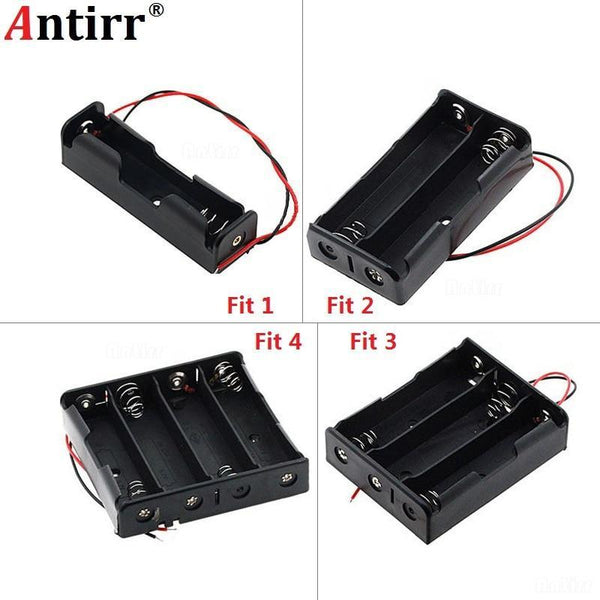PINkart-USA Black Plastic 1X 2X 3X 4X 18650 Battery Storage Box Case 1 2 3 4 Slot Way Diy Batteries Clip Holder
