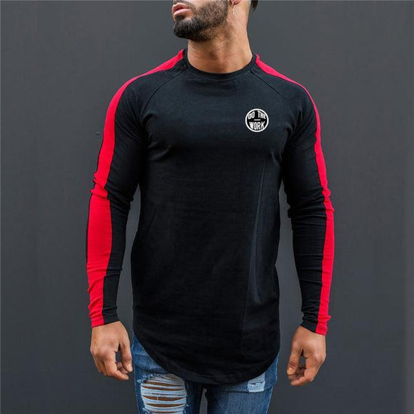 PINkart-USA black red / L Men Spring Fashion Casual T Shirt Crossfit Fitness Bodybuilding Muscle Male Long Sleeves Slim Fit
