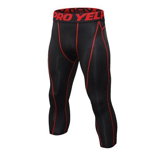 PINkart-USA black  red line / L Mens Compression Tights 3/4 Pants Sports Tight Fitness Running Basketball Trouser Jogging