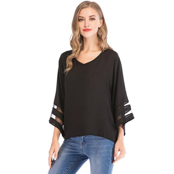 PINkart-USA black / S / China Flare Sleeve Blouse Summer Loose V Neck Tops Mesh Stitching Chiffon Shirt Plus Size Women Shirts