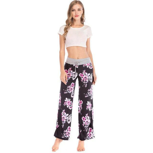 Floral Casual Wide Leg Long Harem Pants High Waist Loose Elastic Waist Palazzo Trousers Plus Size