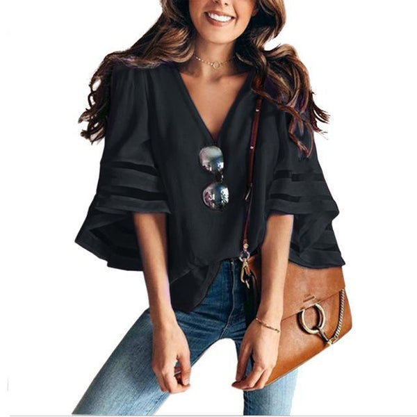 PINkart-USA black / S / China Sexy V Neck Casual Loose Blouse Solid Tops Women Chiffon Shirt Summer Flare Sleeve Mesh Patchwork