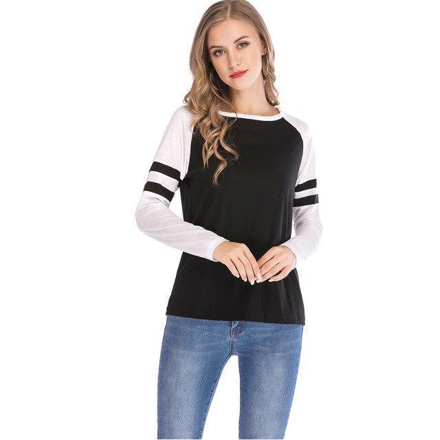 PINkart-USA black / S / China Women'S T-Shirts Patchwork Striped Long Sleeve T-Shirt Quick Dry Fitness Tee Tops Basic Tee