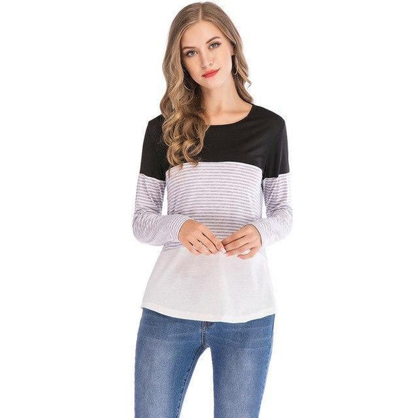 PINkart-USA black / S / China Womens T Shirts Tops Autumn And Winter Casual Loose Striped Patchwork Sleeve Tee Shirts Femme