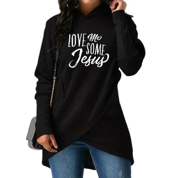 PINkart-USA Black / S Fashion Love Me Some Jesus Print Tops Hoodies Women Sweatshirts Corduroy Youth Pattern Girls