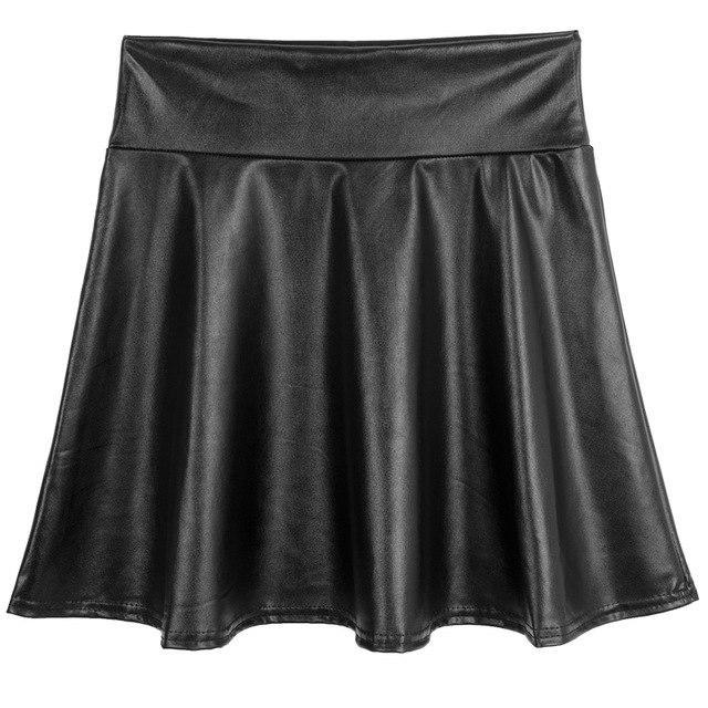 PINkart-USA black / S Spring Summer Women Black Mini Skirt Korean Elastic High Waist Skirt Shortsfaux Leather Umbrella