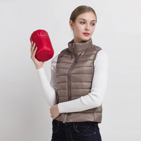 PINkart-USA Black / S Women Vs Winter Ultra Light White Duck Down V Female Slim Sleeveless Jacket Women'S Windproof