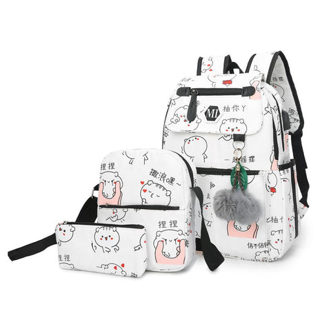 PINkart-USA black Usb Charging Canvas Backpack 3 Pcs/Set Women School Backpacks Schoolbag For Teenagers Man Student Book Bag Boys Satchel