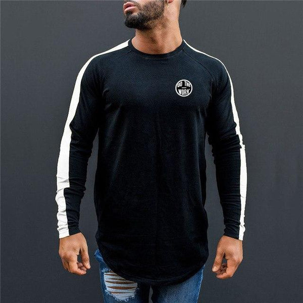 PINkart-USA black white / L Men Spring Fashion Casual T Shirt Crossfit Fitness Bodybuilding Muscle Male Long Sleeves Slim Fit