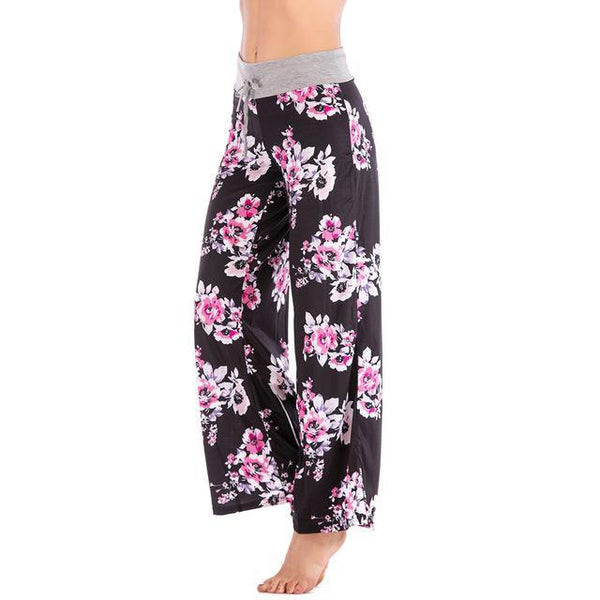 PINkart-USA black / XS Women Loose Floral Print 2018 Wide Leg Pants Loose Mid Waist Straight Trousers Long Female Trousers Fashion Sweatpants