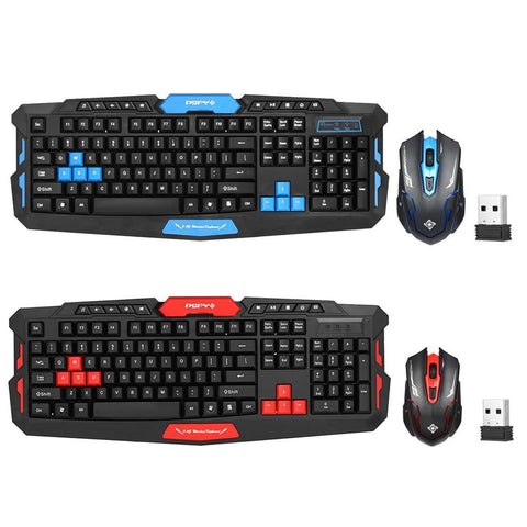 PINkart-USA Blue 2.4Ghz Wireless Gaming Keyboard Mouse Combo 19Key Anti-Ghosting Adjustable Dpi Usb Receiver Adapter