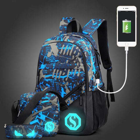PINkart-USA Blue gray 2 / 15 Inches Senkey Style Men'S Backpacks New Design Usb Charging Luminous Student School Bags For Teenagers Designer Laptop Backpack Women