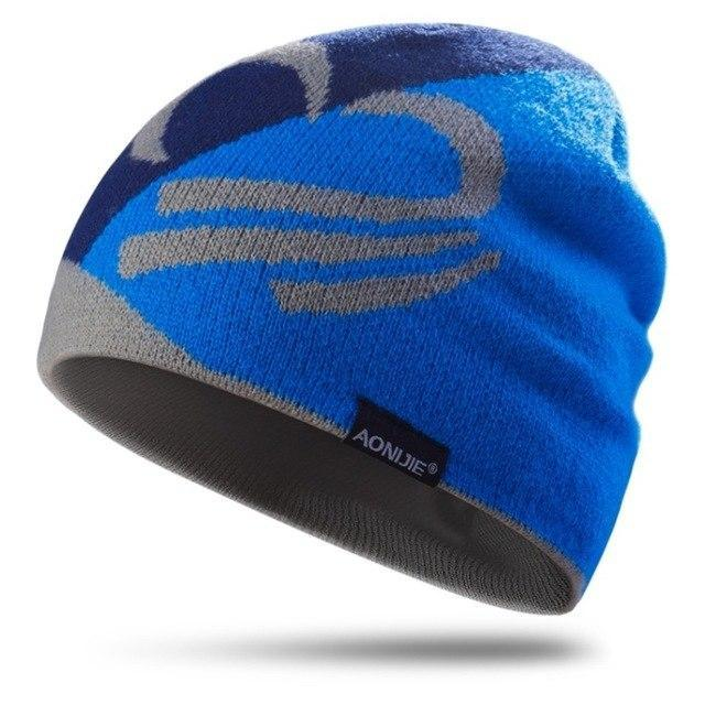 PINkart-USA Blue Knitted Sports Hat Windproof Running Beanie Hat Outdoor Cycling Skull Cap Antibacterial