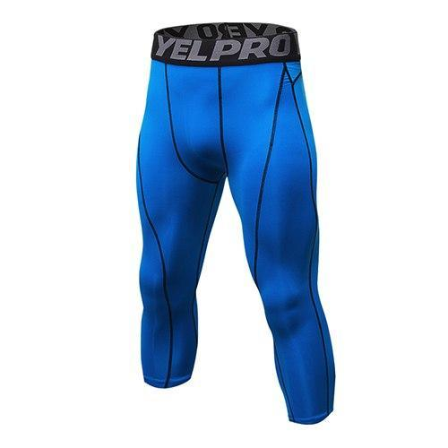 PINkart-USA blue / L Mens Compression Tights 3/4 Pants Sports Tight Fitness Running Basketball Trouser Jogging