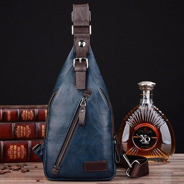 PINkart-USA Blue Men Pu Leather Vintage Fashion Sling Chest Bag Travel Cross Body Messenger Small Male Shoulder