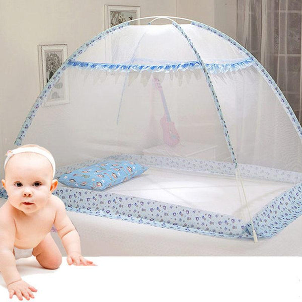 PINkart-USA Blue Pink Cartoon Baby Bed Canopy Portable Folding Crib Netting Tent Without Bottom 80*100/90*140