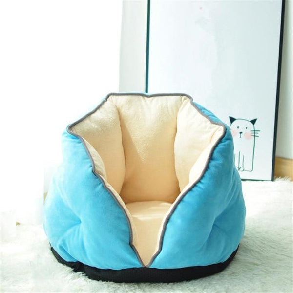 Cat Bed Winter Deep Sleep Semi-Closed Kitten House Warm Soft Dog Bed For Small Dogs Thicken Suede