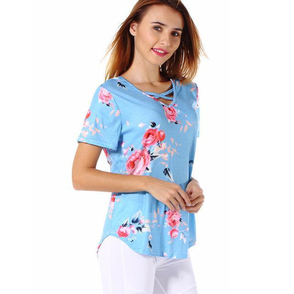 PINkart-USA blue / S / China Est Flowers Print Women T Shirts High Quality Short Sleeve Tops Tees Front Cross V-Neck Women