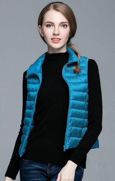 PINkart-USA Blue / S Winter Women 90% White Duck Down V Women'S Ultra Light Duck Down V Jacket Autumn Winter