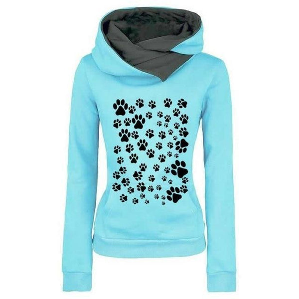 PINkart-USA Blue / XXL Fashion Dog Paw Print Sweatshirt Femmes Hoodies Women Tops Corduroy Pattern Female Cropped Street
