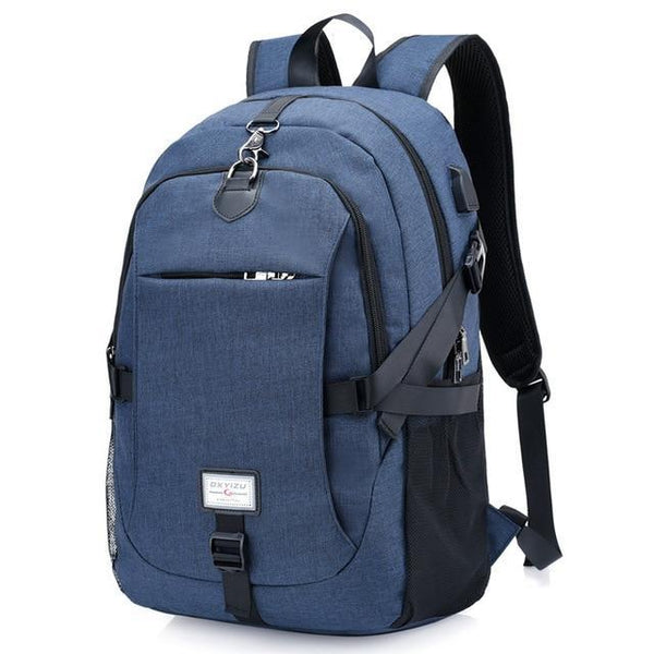 PINkart-USA blue0223 Men'S Backpack Oxford Multifunction Usb Charging Backpack Student School Backpack Travel Bag For Boys Laptop Backpacks Male
