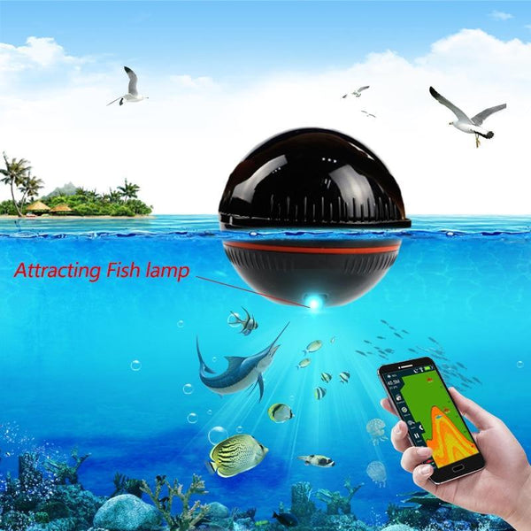 PINkart-USA Bluetooth Fish Finder 48M/160Ft Ice Fishing Sonar Sounder Portable English/Russian Language