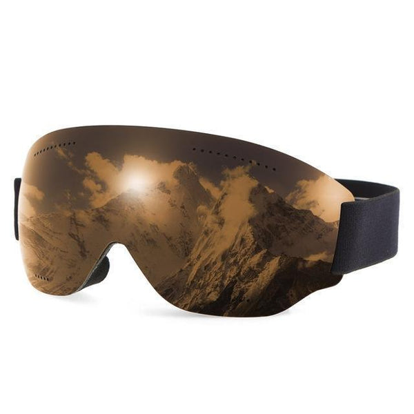 PINkart-USA Brown Anti-Fogging Goggle Skiing Uv400 Protective Goggles Otg Climbing Skating Snow Sports Goggles For