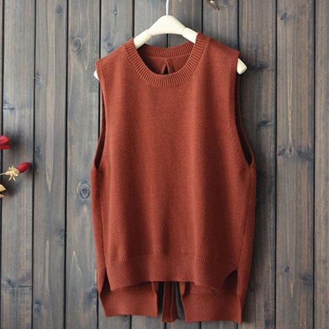 PINkart-USA brown / One Size Autumn Winter Women Knitted Sweater V Jacket Back Hollow Warm Waistcoat Pullover Female