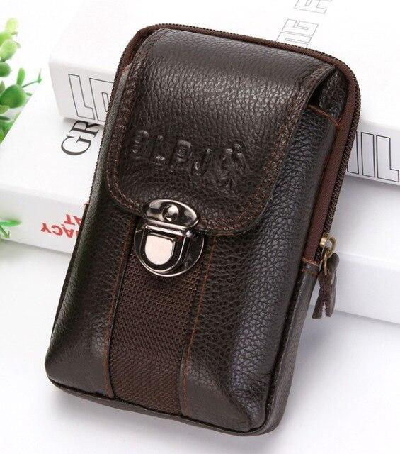 PINkart-USA Brown style1 Kujing Cowhide Handbags Quality Leather Men'S Wear Belt 6-Inch Mobile Phone Bag Men Travel