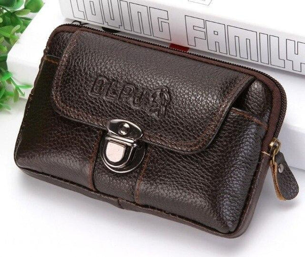 PINkart-USA Brown style2 Kujing Cowhide Handbags Quality Leather Men'S Wear Belt 6-Inch Mobile Phone Bag Men Travel