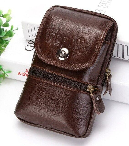 PINkart-USA Brown style3 Kujing Cowhide Handbags Quality Leather Men'S Wear Belt 6-Inch Mobile Phone Bag Men Travel